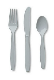 Creative Converting 010441 Shimmering Silver Cutlery (Prem) Cutlery Assortment (12pks Case)
