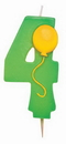Creative Converting 104204 4 - Molded Numeral Candle with balloons (Case of 6)