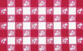 "Creative Converting 37288 Red Gingham Plastic Tablecover Stay Put 60"" Round (12pks Case)"