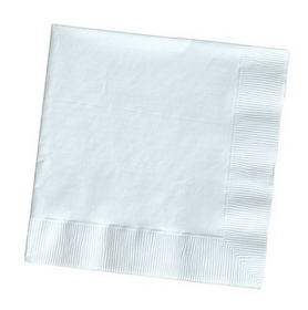 Creative Converting 57000B White Beverage Napkin, 3 Ply, Solid (10pks Case)