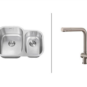 Ruvati Stainless Steel Kitchen Sink and Faucet Set - Double Bowl