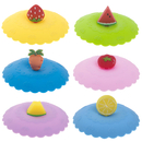 Aspire Silicone Hot Cup Lids 6 Set In Bright Colors, Fruit Shaped Mug Cover