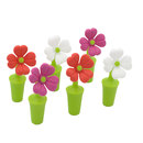 Aspire 6 Pcs Rubber Stoppers Floral Silicone Wine Bottle Stopper Kitchen Accessories Party Favors