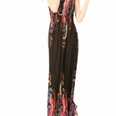 TopTie Red Floral Graphic Print Black Maxi Dress