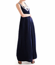 TopTie Elegant Navy Maxi Dress with Sparkling Silver Sequin on Front