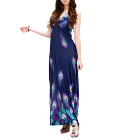 Purple Peacock Print Navy / Dark Blue Long Maxi Dress