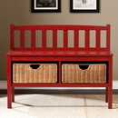 SEI BC9518 Bench w/ Storage Baskets, Red, 36