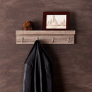 SEI HZ3495 Wall Mount Shelf w/ Hooks - Dark Oak, No Assembly Required