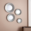 SEI WS6825 Silver Sphere Wall Mirror 4pc Set- Hammered Silver