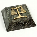 Custom Green Marble Paperweight With Brass Legal Symbol, 4
