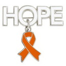 Custom Hope Pin with Orange Ribbon Charm, 1 1/4