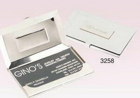 "Silver Like Business Card Case w/ Pouch (3""x2 1/4"") (Screened), Price/piece"