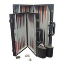 Custom Black Leatherette Backgammon Set- Medium (Screened)