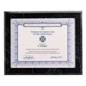 Black Marbleized Certificate Holder Plaque w/ Certificate Side Entry Slot, Price/piece