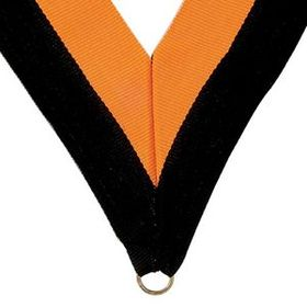"Black/Gold Grosgrain Imported V Neck Ribbon - Medal Holder (32""x1 3/8""), Price/piece"