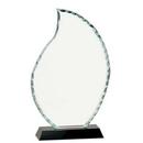 Custom Flame Shaped Facet Glass Award w/ Black Base (9 1/2