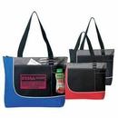 Custom Tri Color, Poly Zipper Tote Bag w/ Mesh Pocket, 17