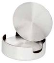 Custom Set of 4 Aluminum Coasters/ Cushioned Base with Holder