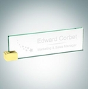 Custom Jade Glass Nameplate w/ Rectangle Brass Holder