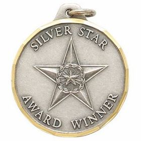 E Medal Series Silver Star Award Winner Medallion, Price/piece
