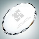 Custom Clear Gem Cut Oval Optical Crystal Paper Weight, 3/4