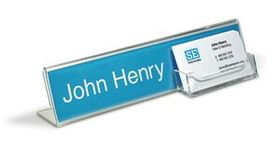 "10"" x 2 1/2"" x 2 3/4"" Name Holder with Business Card Pocket, Price/piece"