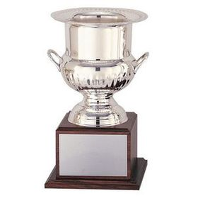 "Silver Plated Wine Cooler Trophy w/ Genuine Wood Base (14""), Price/piece"