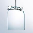 Custom Beveled Clear Glass Ornament - Arch Screened, 3 7/8