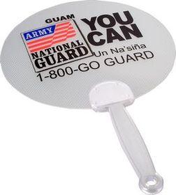 Clear Round Plastic Fan w/ Translucent Handle, Price/piece