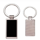 Custom Rectangle Metal Key Chain w/ Dark Reflective Tag, 2 1/8