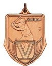 Custom 100 Series Stock Medal (Female Softball Player) Gold, Silver, Bronze