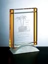 Custom Amber Yellow Deco Award - Optic Crystal