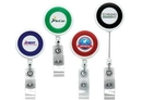 Custom Jumbo Color Ring Round Retractable Badge Reel W/ Alligator Clip (Polydome), 1.5