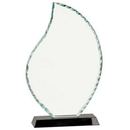 Custom Flame Shaped Facet Glass Award w/ Black Base (10 1/2