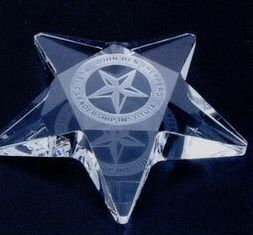 "4""x4""x3/4"" Crystal Star Paperweight W/ Flat Top (Screened), Price/piece"