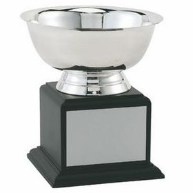 "Stainless Steel Revere Bowl Trophy w/ Black Wood Base (8""x9 1/4""), Price/piece"