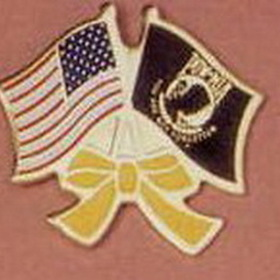 Stock American & POW Flag Lapel Pin W/ Yellow Ribbon, Price/piece