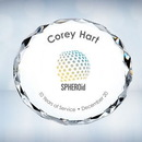 Custom Color Imprinted Clear Gem Cut Circle Optical Crystal Paper Weight, 2