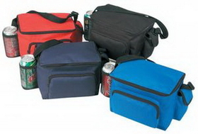 600D Polyester 6 Pack Poly Cooler with Bottle & Cell Phone Holder, Price/piece