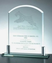 Custom Arch Award with Aluminum Holder Base - Jade Glass (8 3/8