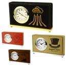 Custom Laserable Leatherette Horizontal Desk Clock - Screen Imprint, 7.5