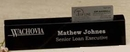 Custom Black Genuine Marble Executive Name Block & Card Holder (10