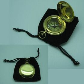 BRASS POCKET COMPASS WITH VELVET POUCH(Screen printed), Price/piece