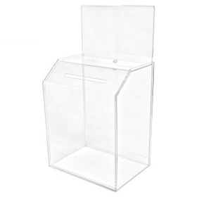 "Large Clear Acrylic Ballot Box W/ Header (6"" Deep/ 8.5""x5"" Riser Insert), Price/piece"