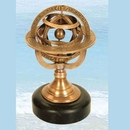 Custom Brass Armillary Spheres W/Stone Base, 3