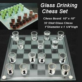 "10"" Glass Drink Chess Set (Screen printed), Price/piece"