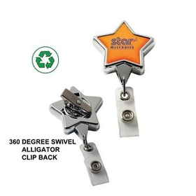 "DeVara Chrome Star Retractable Badge Reel: (Label Only), 3 1/2"" W X 1 1/4"" H X .31"" D, Price/piece"