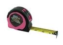 Custom Women's Pink Retractable Power Tape Measure w/ Dome Label (25'x1
