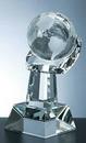 Custom World Globe in Hand Award - Optic Crystal (9 1/2