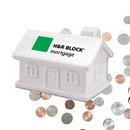Custom Mini Cute House Bank Ceramic Collectible White, 3 1/2